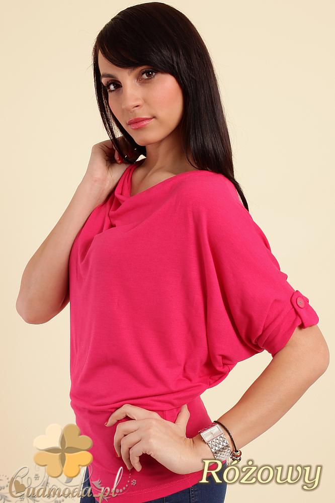 CM0195 Elegancka bluzka damska kimono dekolt woda - różowa
