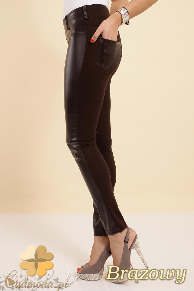 CM0192 Włoskie legginsy spodnie ze skórzanymi wstawkami - bršzowe