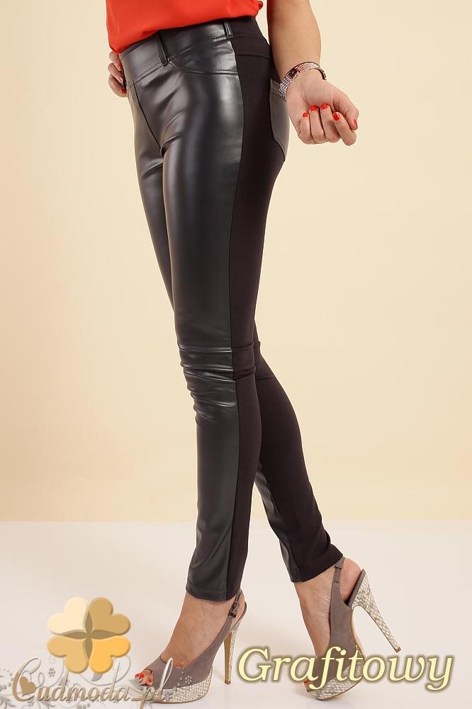 CM0192 Włoskie legginsy spodnie ze skórzanymi wstawkami - grafitowe