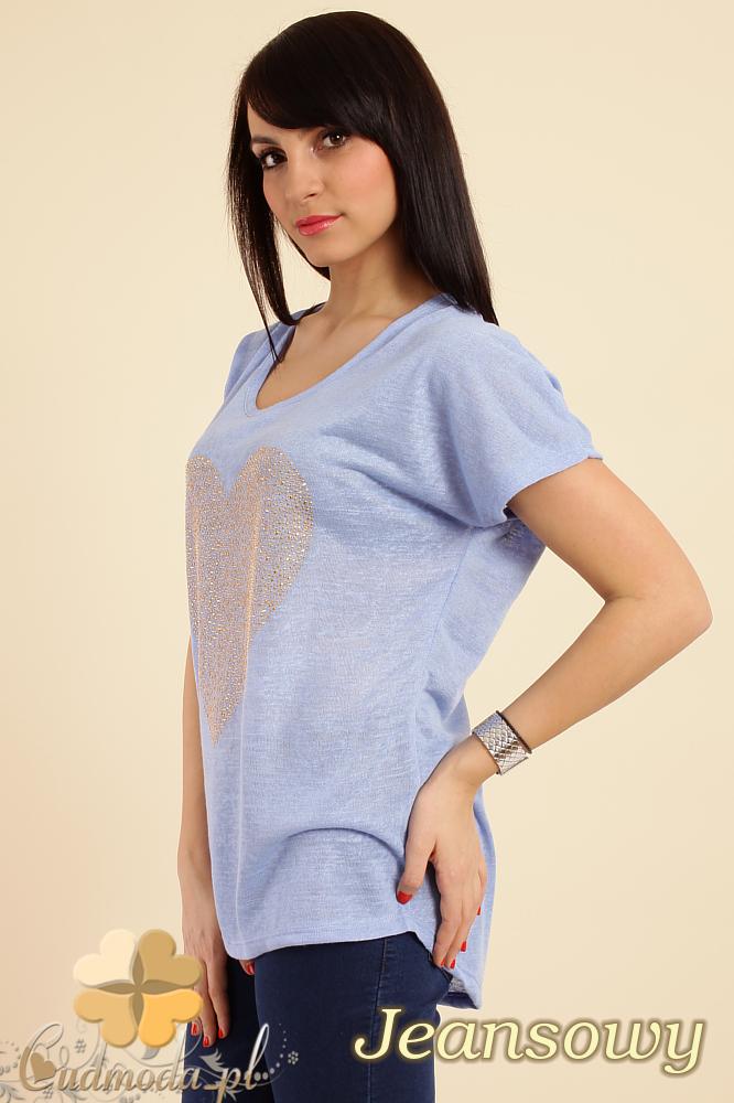 CM0212 Zwiewna bluzka damska z sercem - jeansowa