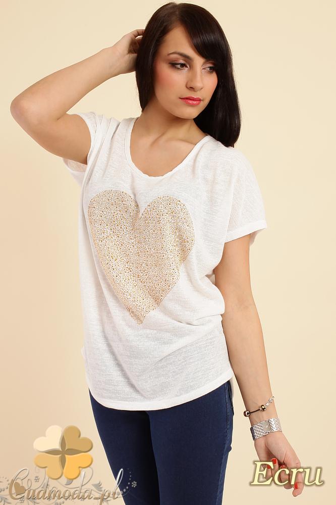 CM0212 Zwiewna bluzka damska z sercem - ecru