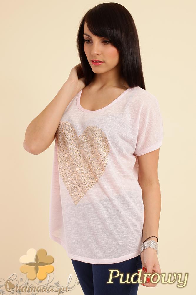 CM0212 Zwiewna bluzka damska z sercem - pudrowa