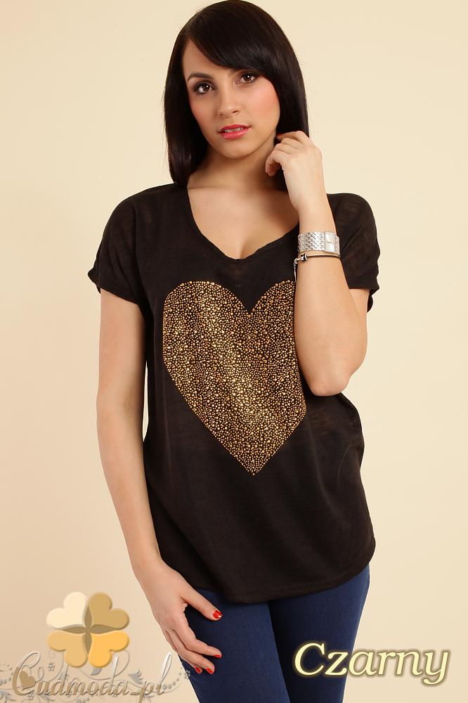 CM0212 Zwiewna bluzka damska z sercem - czarna