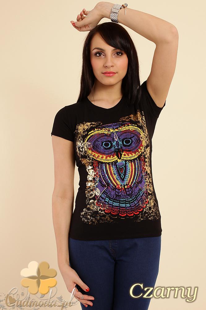 CM0211 T-shirt damski z nadrukiem sowy - czarny