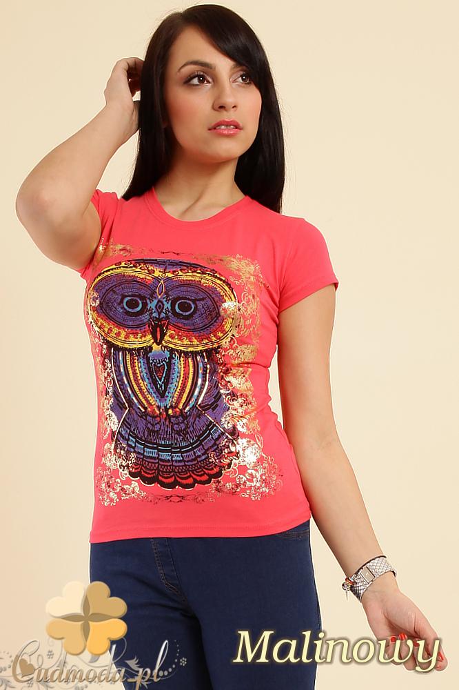 CM0211 T-shirt damski z nadrukiem sowy - malinowy