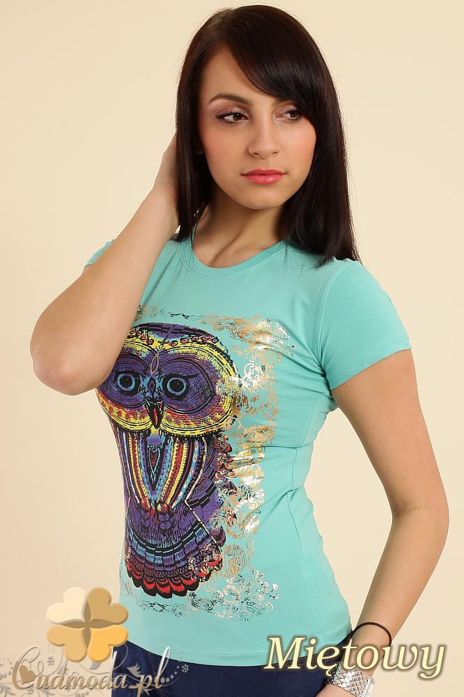 CM0211 T-shirt damski z nadrukiem sowy - miętowy