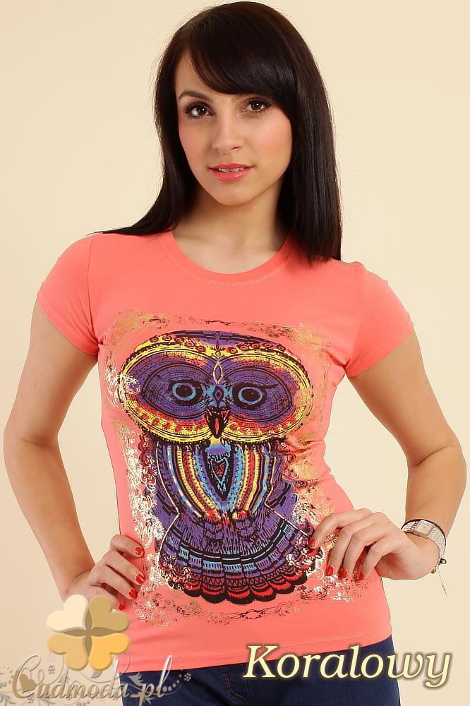 CM0211 T-shirt damski z nadrukiem sowy - koralowy