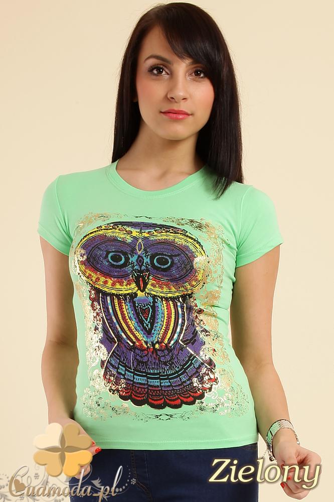 CM0211 T-shirt damski z nadrukiem sowy - zielony