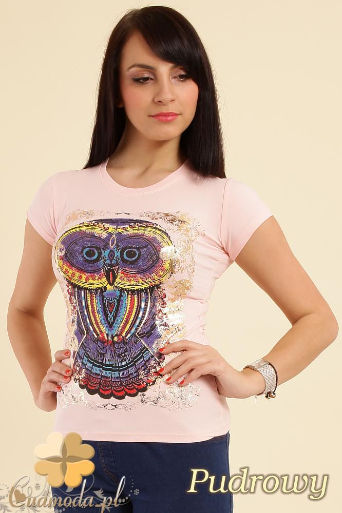CM0211 T-shirt damski z nadrukiem sowy - pudrowy