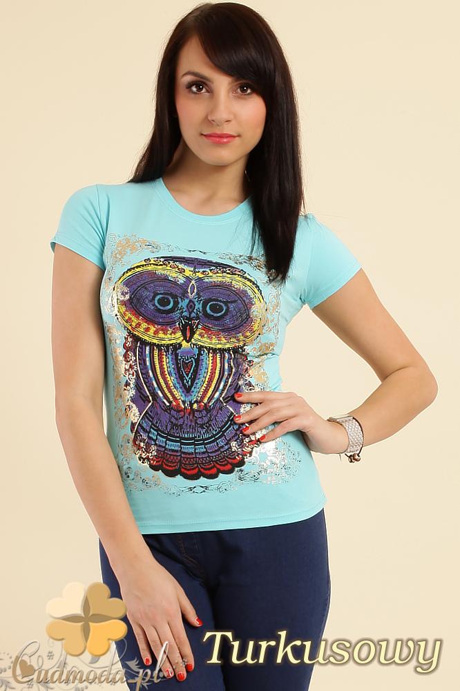 CM0211 T-shirt damski z nadrukiem sowy - turkusowy