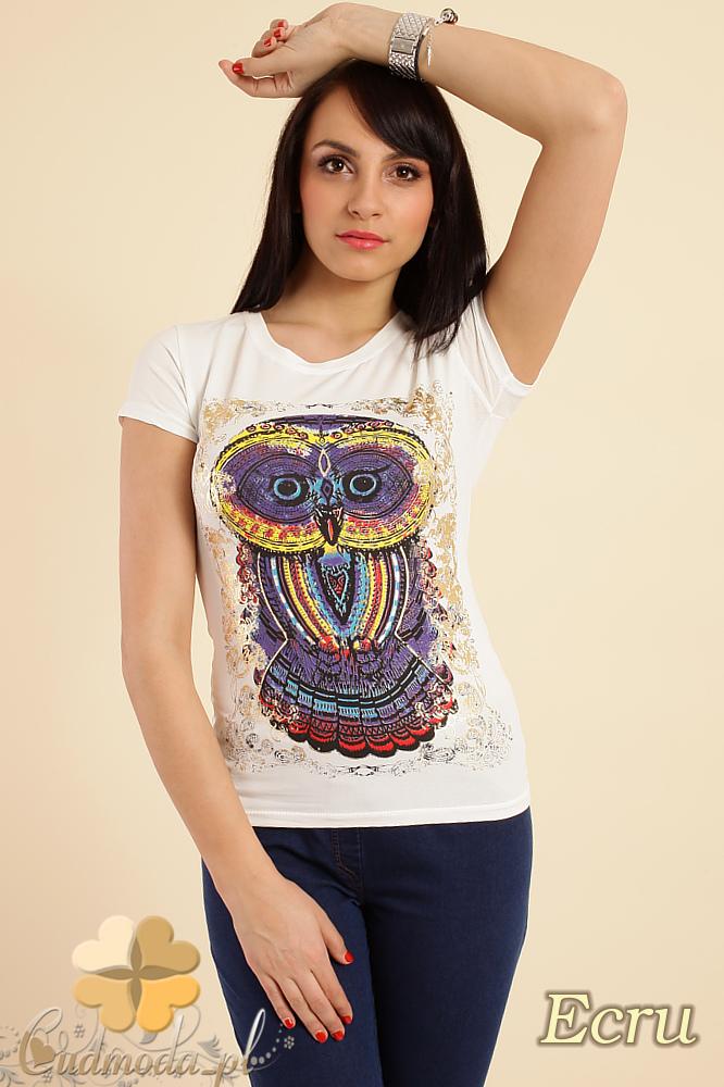 CM0211 T-shirt damski z nadrukiem sowy - ecru