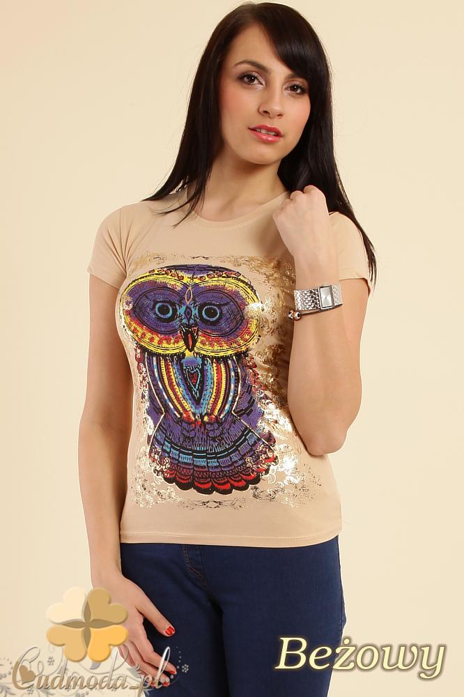 CM0211 T-shirt damski z nadrukiem sowy - beżowy