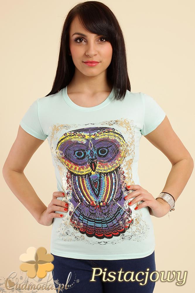 CM0211 T-shirt damski z nadrukiem sowy - pistacjowy
