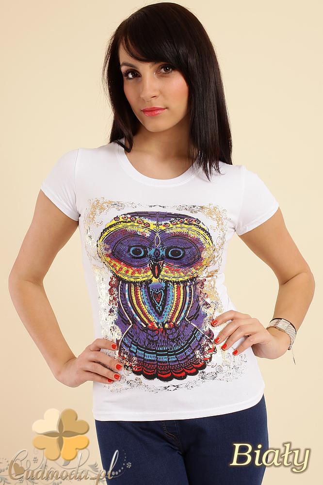 CM0211 T-shirt damski z nadrukiem sowy - biały
