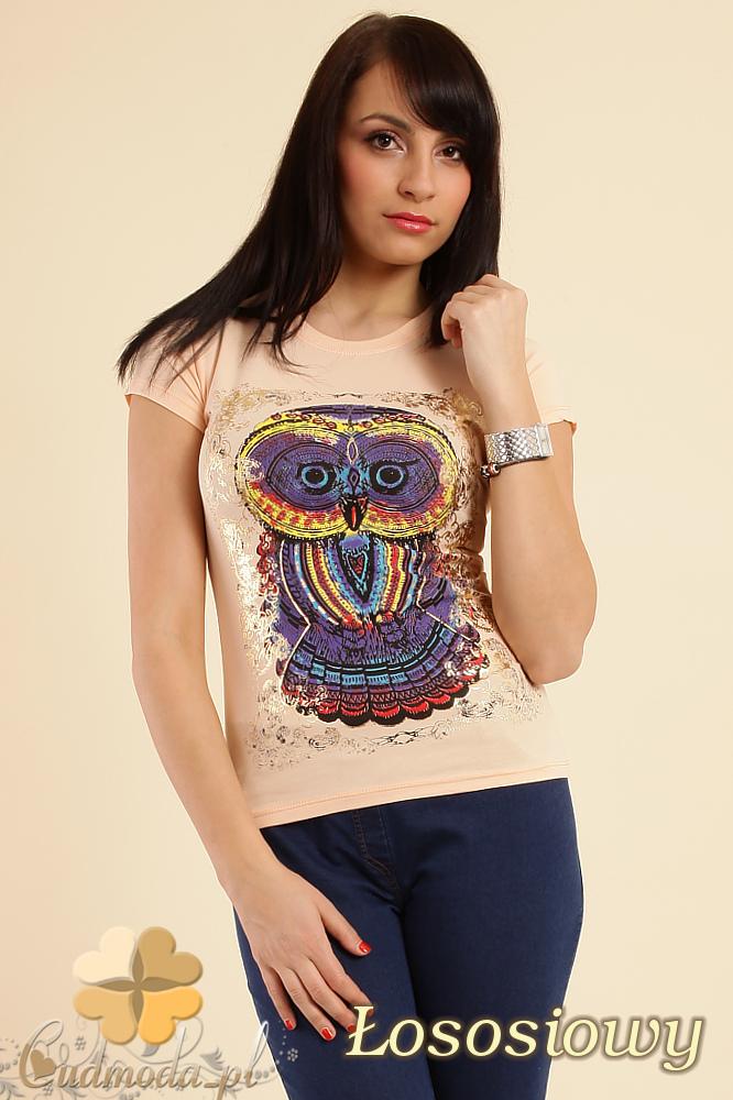 CM0211 T-shirt damski z nadrukiem sowy - łososiowy