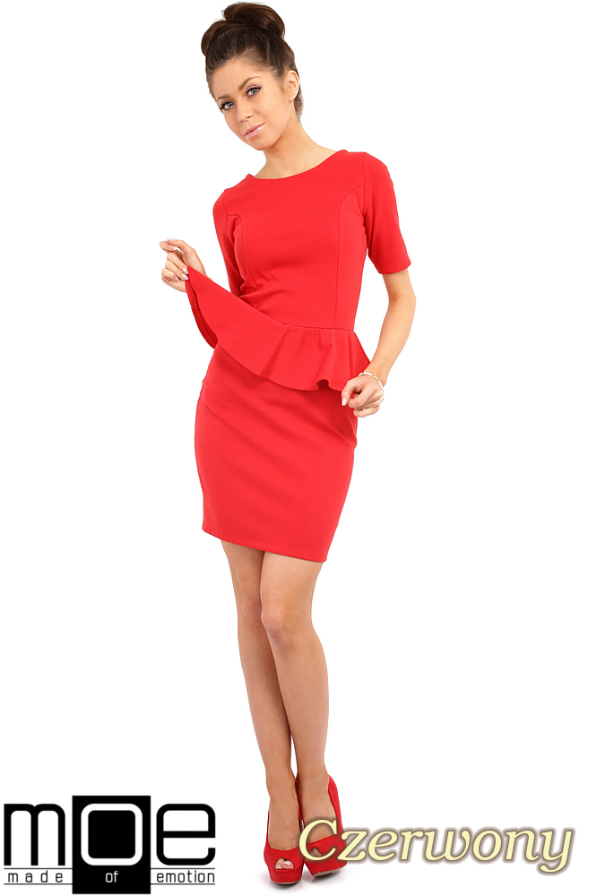 CM0220 Elegancka sukienka ołówkowa z baskinkš - czerwona