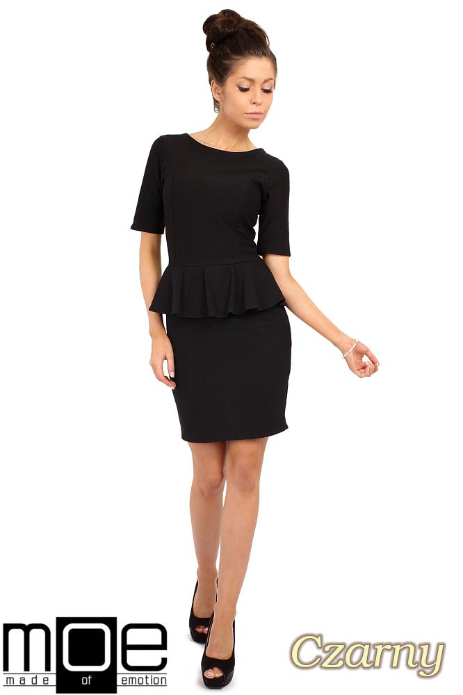 CM0220 Elegancka sukienka ołówkowa z baskinkš - czarna