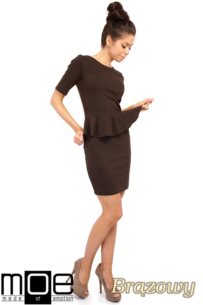 CM0220 Elegancka sukienka ołówkowa z baskinkš - bršzowa