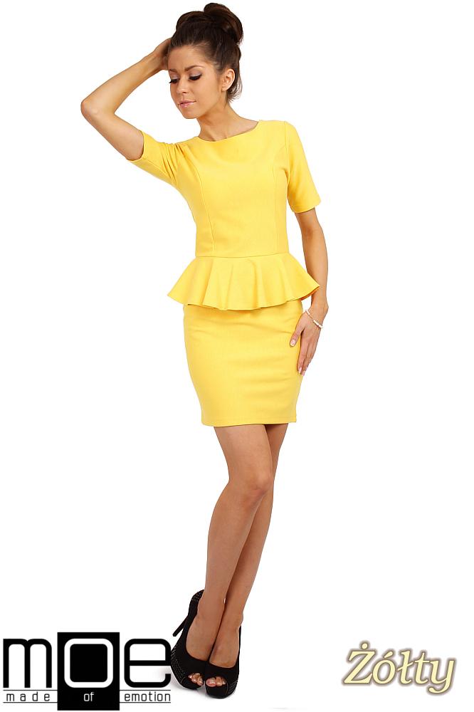 CM0220 Elegancka sukienka ołówkowa z baskinkš - żółta