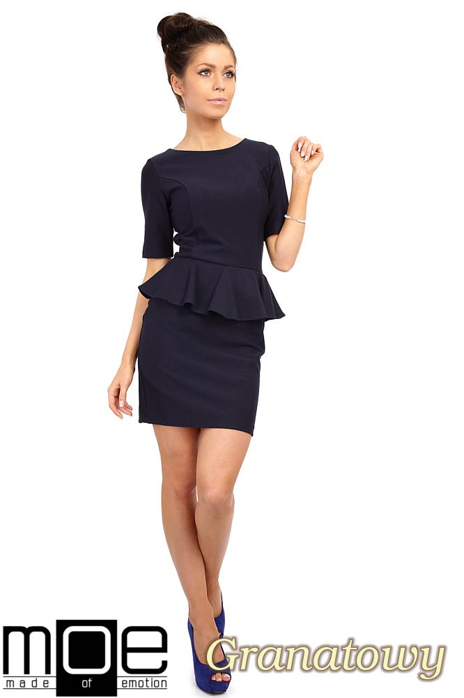 CM0220 Elegancka sukienka ołówkowa z baskinkš - granatowa