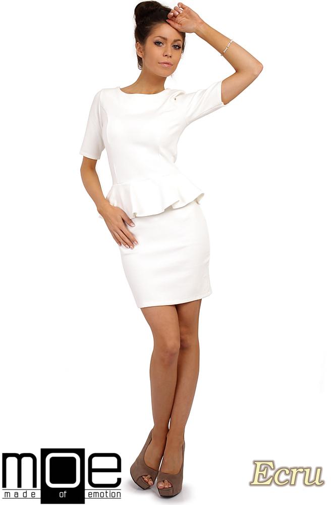CM0220 Elegancka sukienka ołówkowa z baskinkš - ecru