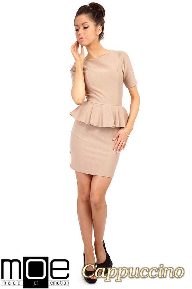 CM0220 Elegancka sukienka ołówkowa z baskinkš - cappuccino