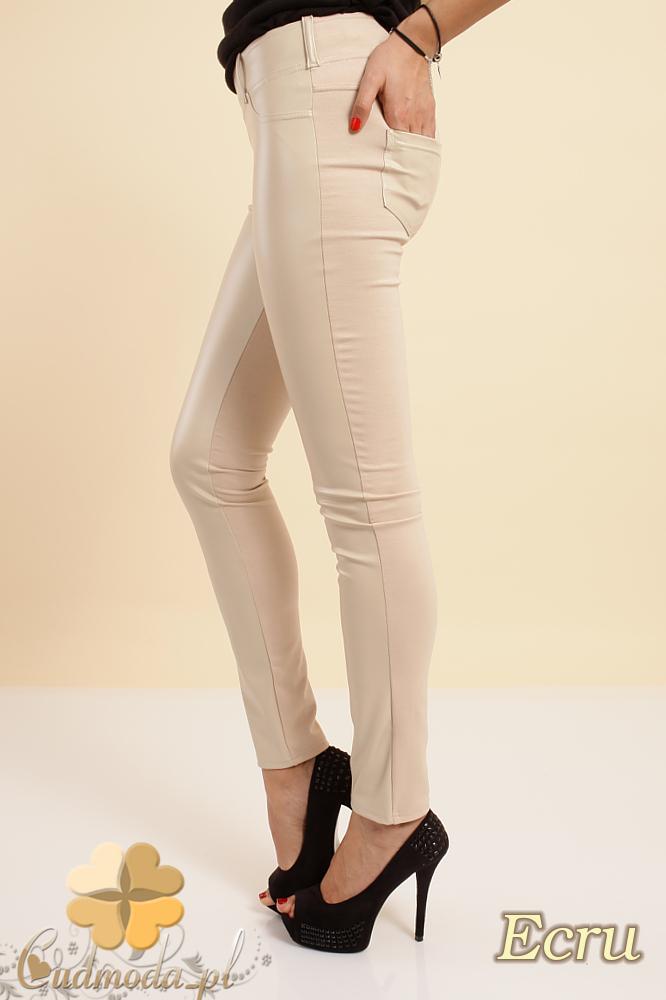 CM0192 Włoskie legginsy spodnie ze skórzanymi wstawkami - ecru