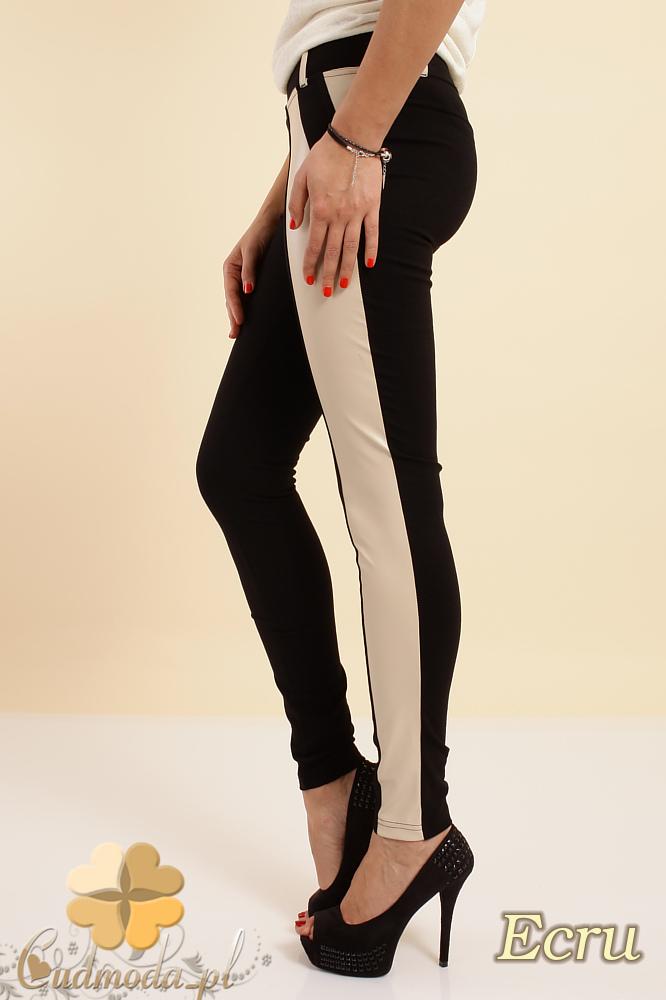 CM0237 Włoskie dwukolorowe legginsy ze skórzanš wstawkš - ecru