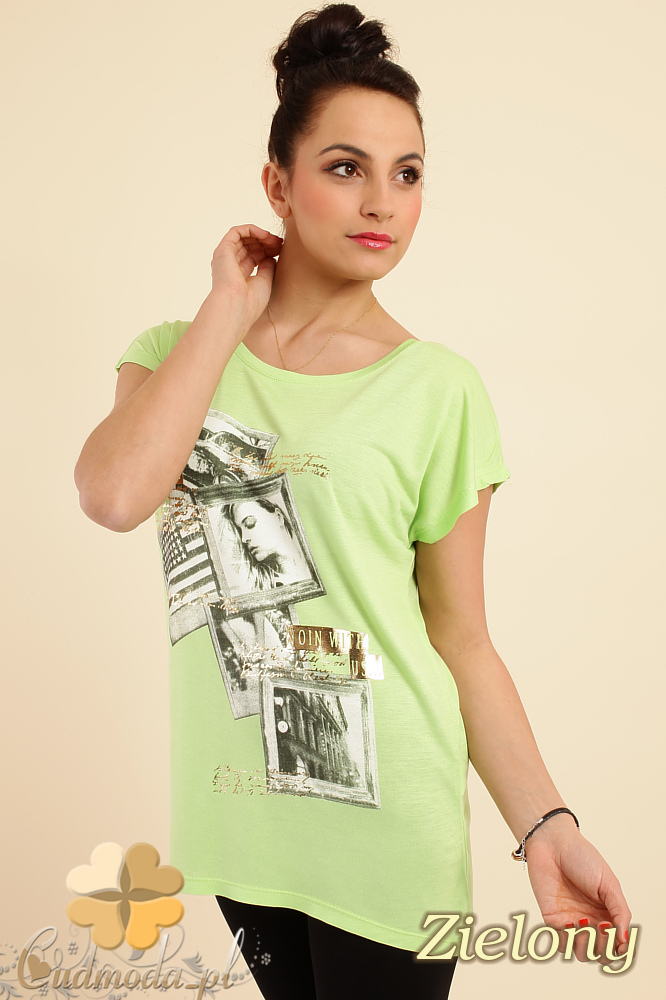 CM0229 Bluzka tunika t-shirt kimono nadruk - zielona