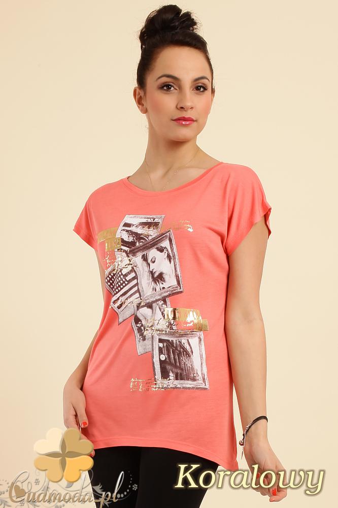 CM0229 Bluzka tunika t-shirt kimono nadruk - koralowa