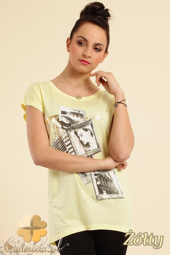CM0229 Bluzka tunika t-shirt kimono nadruk - żółta