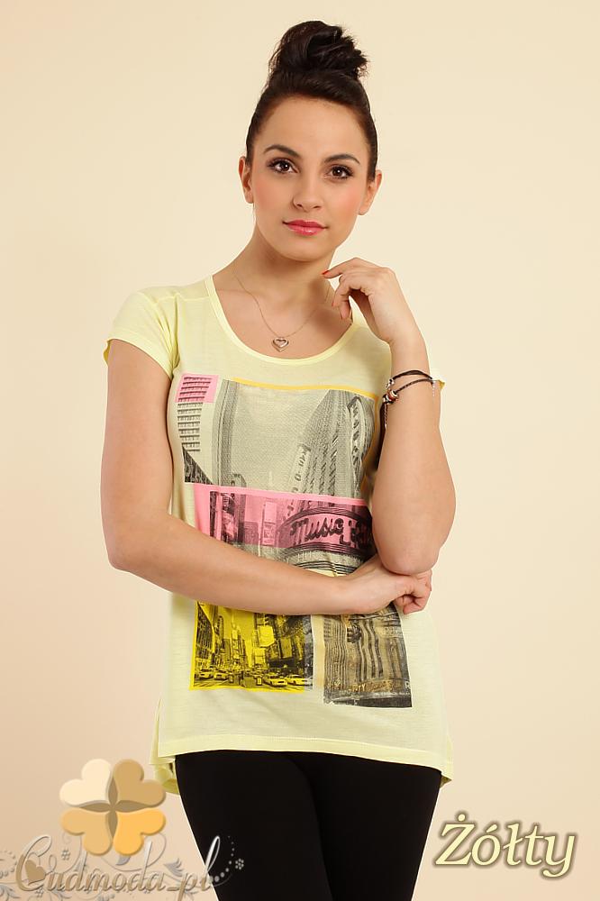CM0233 Modna bluzka t-shirt tunika kimono - żółta