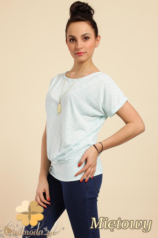 CM0228 Gładka bluzka tunika + wisior sowa - miętowa