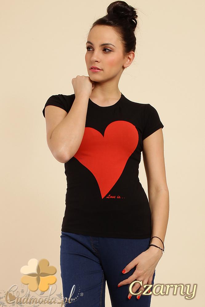 CM0234 Sportowy prosty t-shirt bluzka z nadrukiem - czarny
