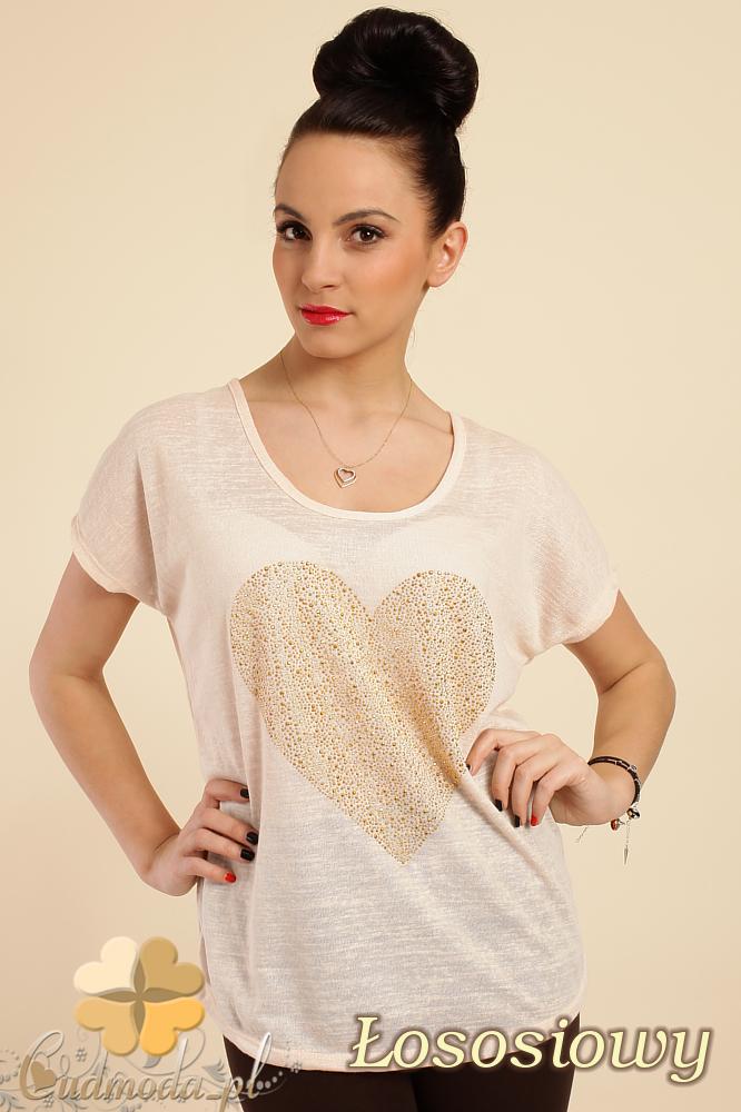 CM0212 Zwiewna bluzka damska z sercem - łososiowa