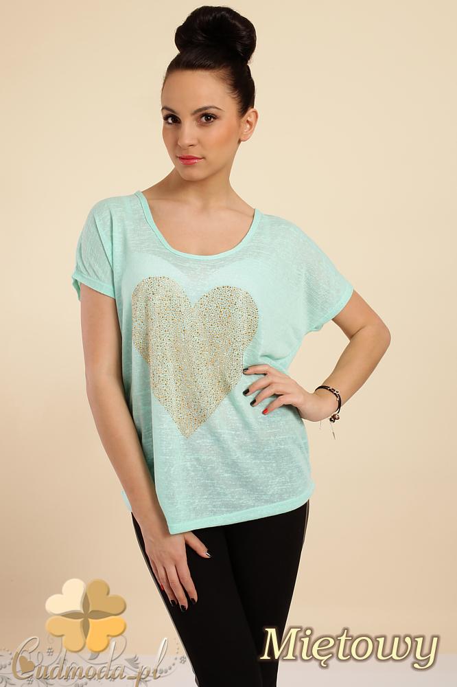 CM0212 Zwiewna bluzka damska z sercem - miętowa