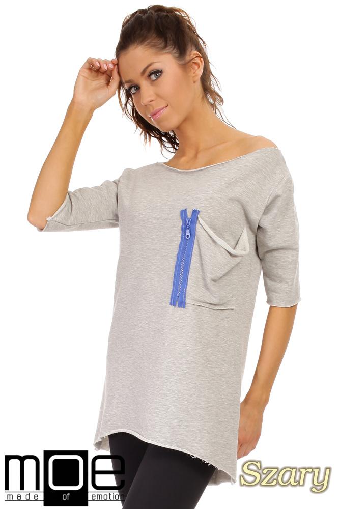 046defd84 CM0275 Sportowa bluza tunika zamek - szara