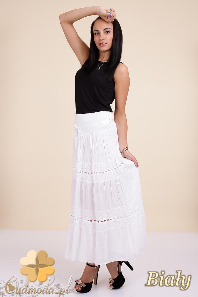 CM0295 Zwiewna długa spódnica maxi koronka - biała
