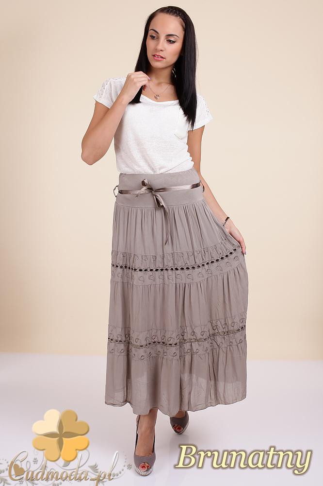 CM0295 Zwiewna długa spódnica maxi koronka - brunatna