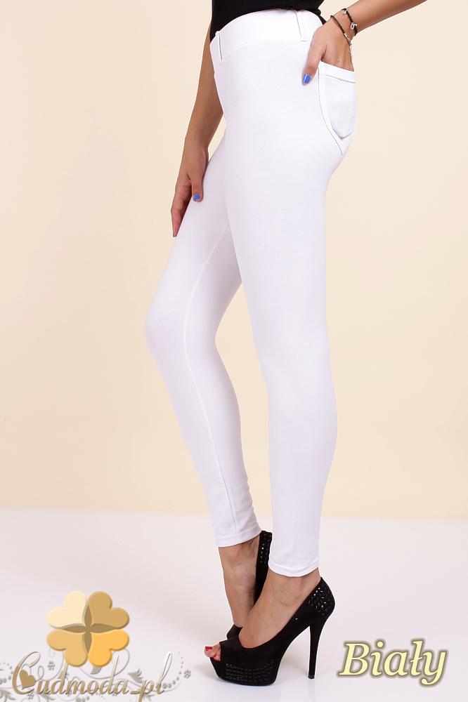 CM0034 Włoskie klasyczne getry legginsy z kieszeniami - białe