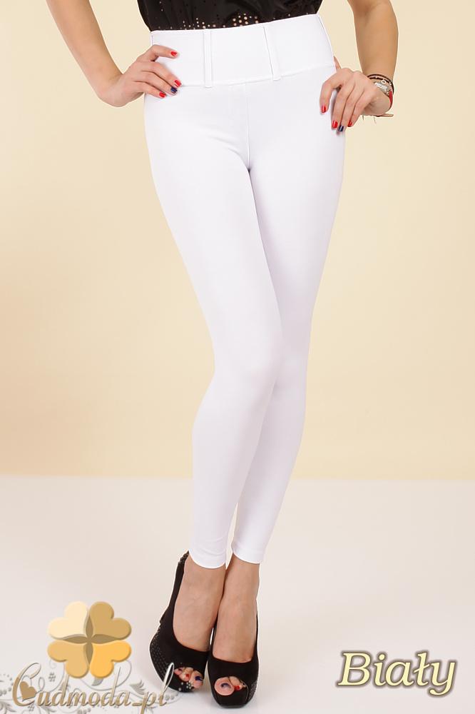 CM0035 Włoskie, klasyczne legginsy z wysokim stanem - białe