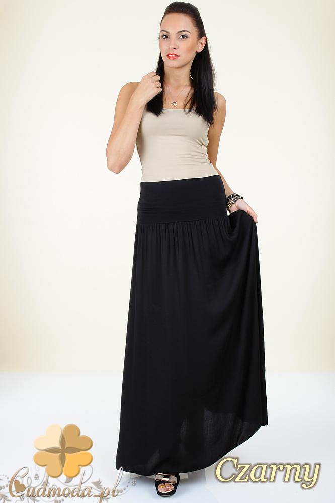CM0293 Zwiewna długa spódnica maxi do kostek - czarna
