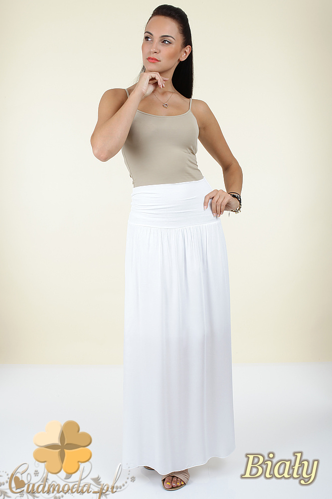 CM0293 Zwiewna długa spódnica maxi do kostek - biała