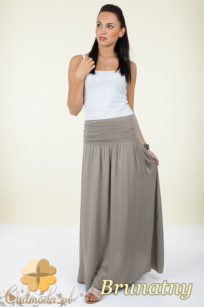 CM0293 Zwiewna długa spódnica maxi do kostek - brunatna