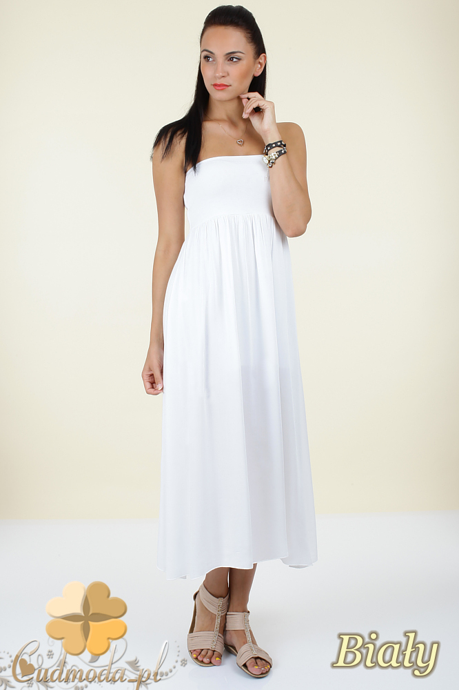 CM0296 Zwiewna gładka sukienka maxi - biała