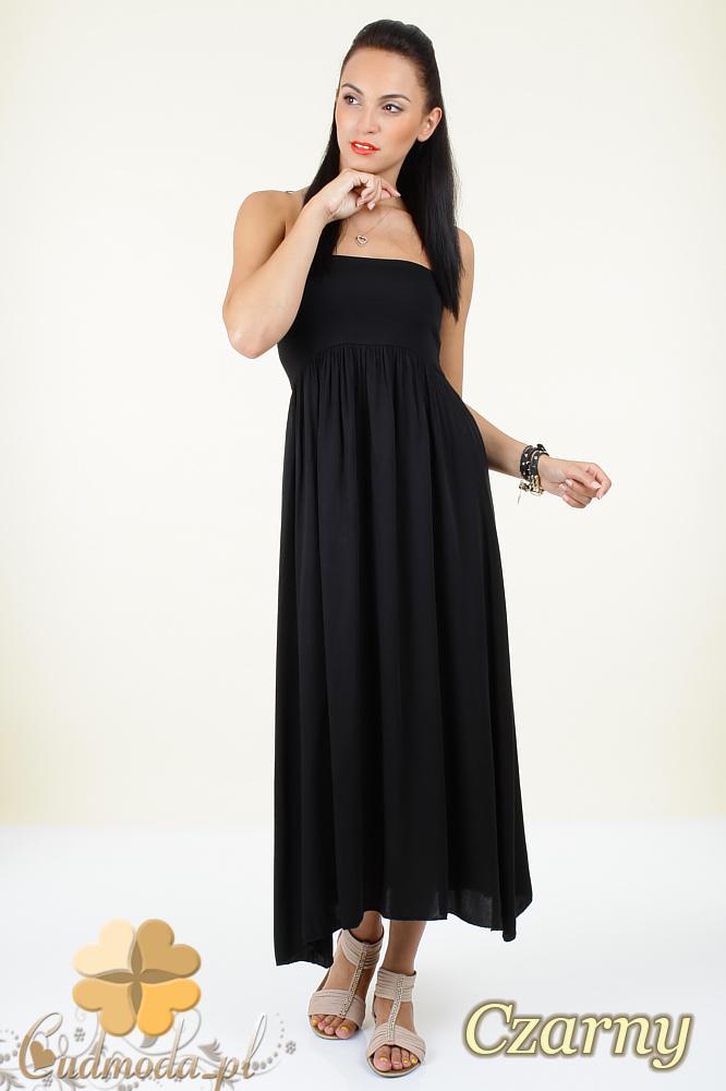 CM0296 Zwiewna gładka sukienka maxi - czarna