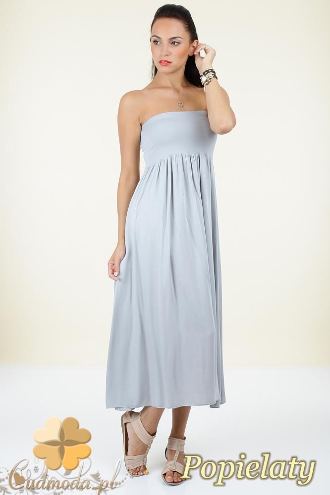 CM0296 Zwiewna gładka sukienka maxi - popielata