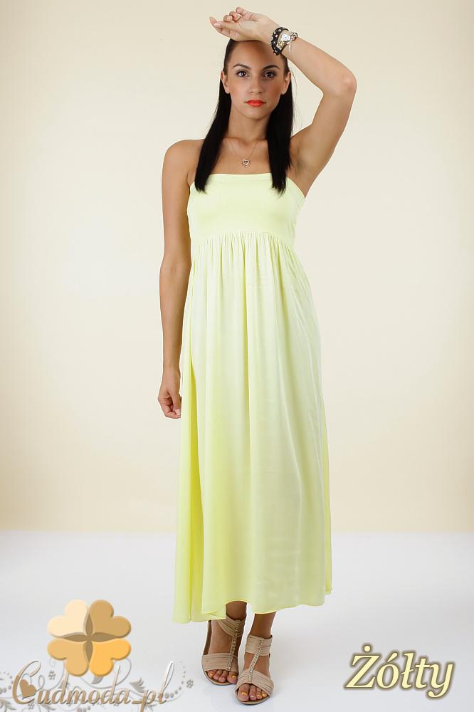 CM0296 Zwiewna gładka sukienka maxi - żółta