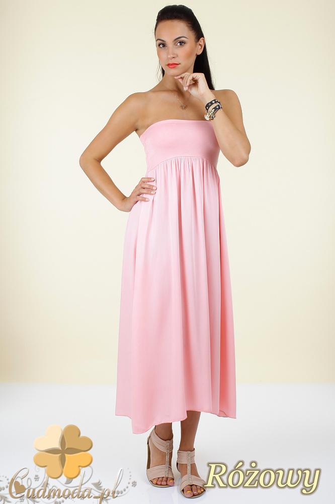 CM0296 Zwiewna gładka sukienka maxi - różowa