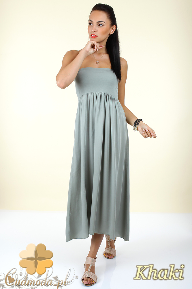 CM0296 Zwiewna gładka sukienka maxi - khaki